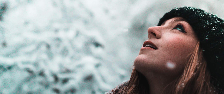 Winter Schnee Mensch Frau Atem Freude